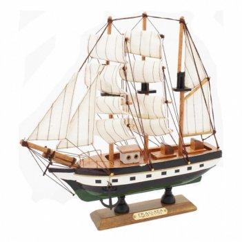 111006 фрегат xviii в, модель парусного корабля из дерева 23х23см