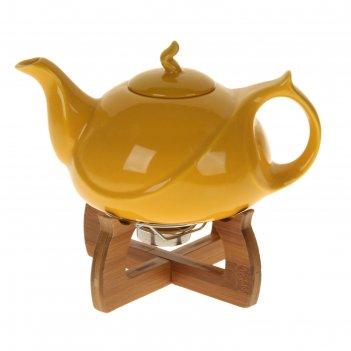 Чайник с подогревом 800 мл акцент, желтый