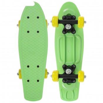 Скейтборд 42 х 12 см, колеса pvc 50 мм, пластиковая рама, цвет салатовый