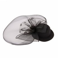 Карнавальный зажим загадка шляпка и вуалетка с бантом, цвет черный