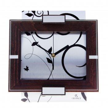 Часы настенные деревянные grance серебряные узоры