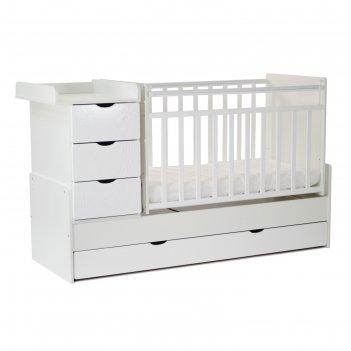 Кровать детская скв-5 жираф, опуск.бок.,маятник,4 ящика,белый