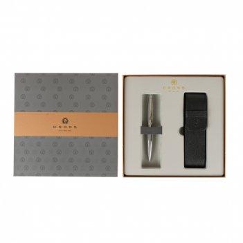 Подарочный набор cross: шариковая ручка cross calais chrome с чехлом на дв