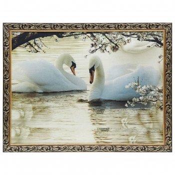 Гобеленовая картина лебеди 64х84 см