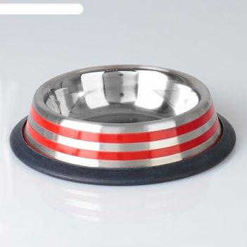 Миска с нескользящим основанием с цветными полосками, 230 мл, красная