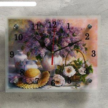 Часы настенные, серия: цветы, сирень в вазе, 20х25  см, микс