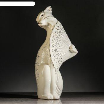 Статуэтка кошка с веером