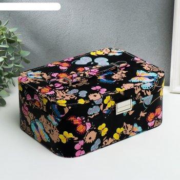 Шкатулка кожзам для украшений яркие бабочки на чёрном 11х25,5х15,5 см