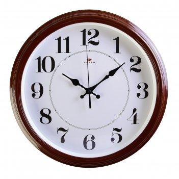 Часы настенные круглые классика, 35 см  коричневые рубин микс
