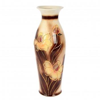 Ваза напольная форма эллада декор цветы, глазурь, коричневый фон
