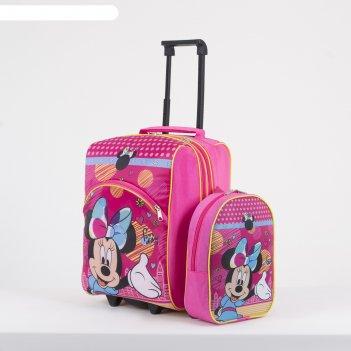 Чемодан мал с рюкзаком минимаус, 32*23*42, отд на молнии, с расш, н/карман