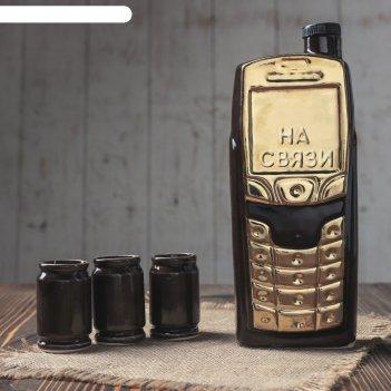 Набор коньячный телефон 4 предмета, 0,75л