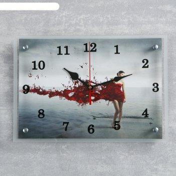 Часы настенные, серия: люди, девушка в красном 25х35 см, микс
