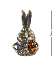 Am-1006 фигурка колокольчик-заяц крош (латунь, янтарь)