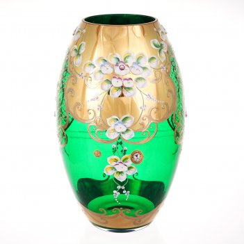 Ваза для цветов bohemia лепка зелёная 30см