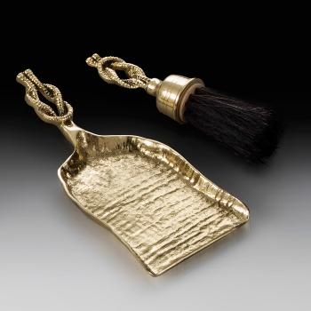 Совок с щеткой из бронзы для камина virtus узел золото 2501