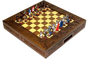 Шахматы исторические эксклюзивные ледовое побоище с фигурами из олова по