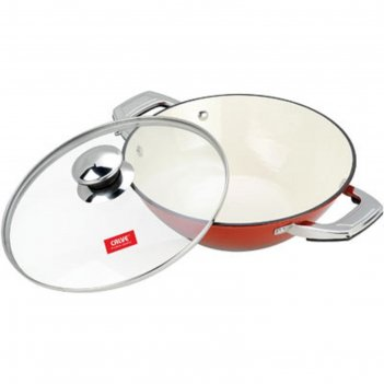 Сковорода-вок d=28 см, calve, с крышкой, чугун с эмалированным покрытием