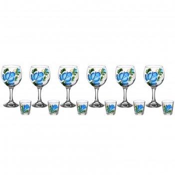 Набор цветы гжель 6 фужеров для вина 290 мл, 6 стопок 50 мл