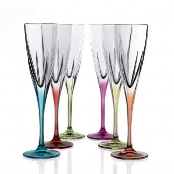 Набор фужеров для шампанского цветные rcr fusion 170 мл