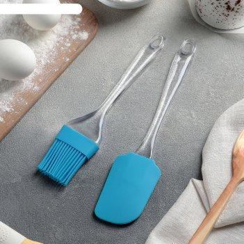 Набор для выпечки «лёд», 2 предмета: лопатка 24 см, кисть 21 см, цвета мик