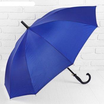 Зонт-трость, полуавтомат, r=56см, цвет синий