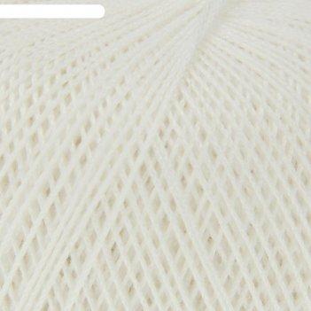 Нитки вязальные роза 320м/50гр  100% мерсеризованный хлопок цвет 0101