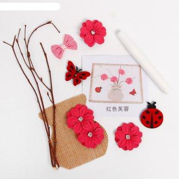 Набор для творчества эко декора ваза с розовыми цветами клей 15 мл