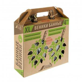 Веник невский банщик, в коробке (дубовый - 2шт, берёзовый - 2 шт)