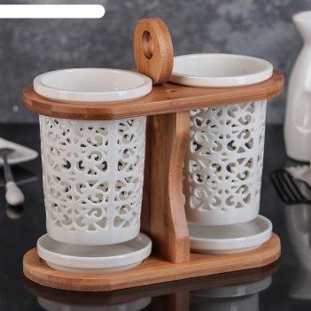 Набор подставок для столовых приборов 20х10х15 см эстет, рисунок вензеля