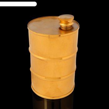 Фляжка 850  мл, в виде армейской бочки, 304 нерж сталь, золотистая, 9.2х14