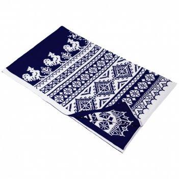 Плед с символом года «петухи», синий (сапфир)