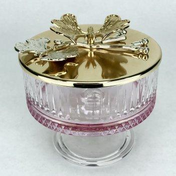 Сахарница н/н розовая с золотом элисия