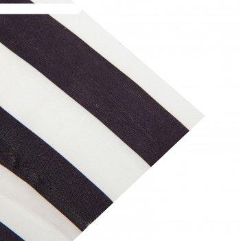 Ткань атлас бело-черная полоса, ширина 150 см