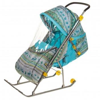Санки-коляска «умка 3. вязаный узор», цвет бирюзовый
