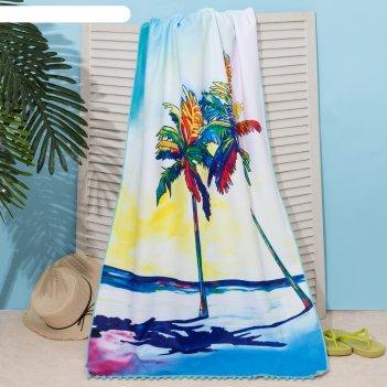 Полотенце пляжное этель закат, 75*140 см, микрофибра, 100% п/э