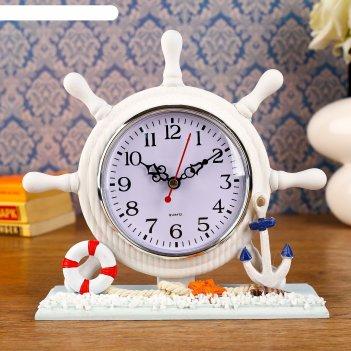 Часы настольные штурвал с термометром, 20х20х7 см