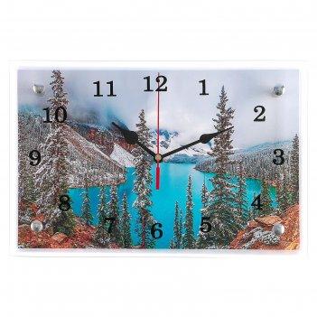 Часы настенные, серия: природа, горное озеро, 20х30 см