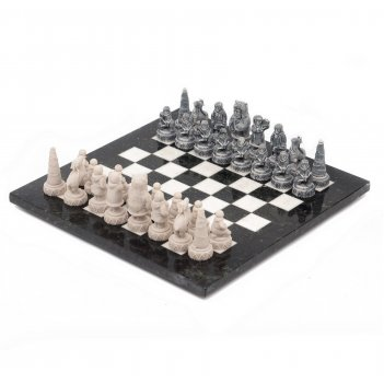 Шахматы северные народы змеевик мрамор 400х400 мм