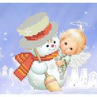 """Рисунок для вышивания бисером """"снеговик и ангел"""""""