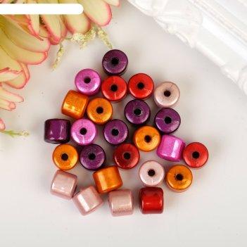 Набор бусин для творчества цилиндр розово-красная палитра 10 гр 0,8х0,8 см