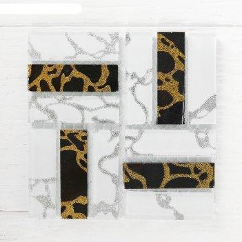 Мозаика стеклянная на клеевой основе №20, цвет белый с черным
