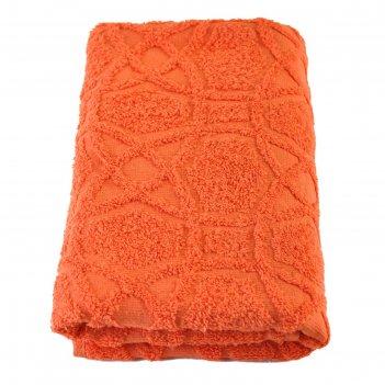 Полотенце, размер 50 x 100 см, цвет оранжевый
