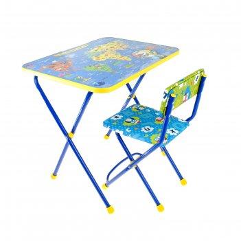 Набор детской мебели познайка. познаю мир складной: стол, стул мягкий моющ
