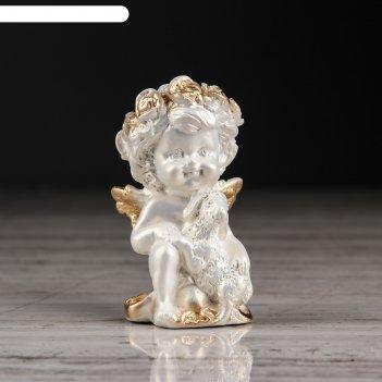 Статуэтка ангел с барашкой №2 перламутр с золотом
