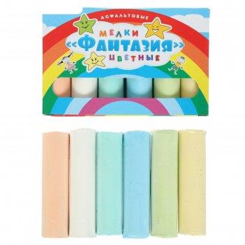 Мелки цветные для асфальта 6 штук 6цв фантазия цилиндр 8*2см
