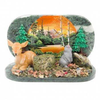 Композиция заяц с олененком