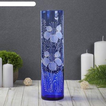 Ваза цилиндр, синяя, цветы