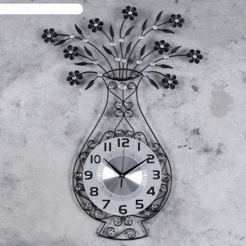 Часы настенные интерьерные ваза с цветами