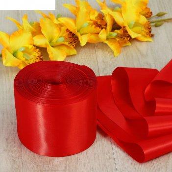 Лента атласная, 100 мм, 100±1 м, цвет красный